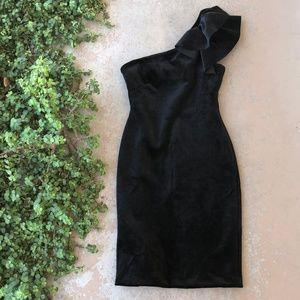 Eliza J Black Velvet One Shoulder Cocktail Dress